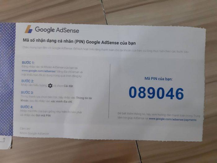 Mã PIN nhận được từ Google.
